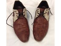Classy Gents brown/cream stripe shoes