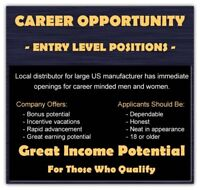 CAREER OPPORTUNITY $1000-$1500 PER WEEK