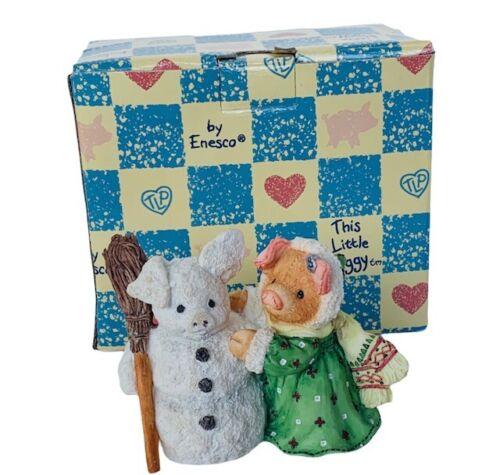 Enesco This Little Piggy figurine pig box vtg anthropomorphic White Christmas