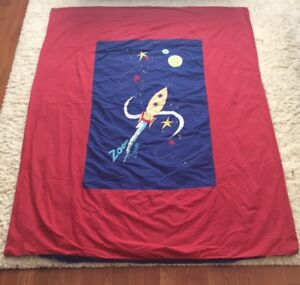 Perfect for Kid's Room-Rocket Ship Duvet Cover and Pillow Sham