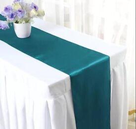 Teal/green satin table runners x 10 Wedding?