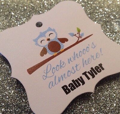 24 Blue Baby Boy Owl Personalized With Name Baby Shower Favor Tag - Look Whooo's - Owl Boy Baby Shower