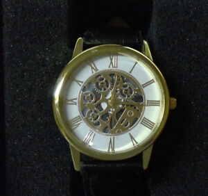 Gold Plated Black Band Watch