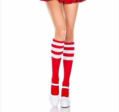ML-5726 Sexy Red Knitted Knee High Socks w/ White Stripes Top Costume Hosiery