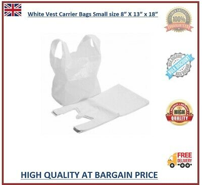 500 Vest Carrier Plastic Bags White Small Size 8x13x18