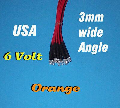 10 X Led - 3mm Pre Wired Leds 6 Volt Wide Orange 6v Usa