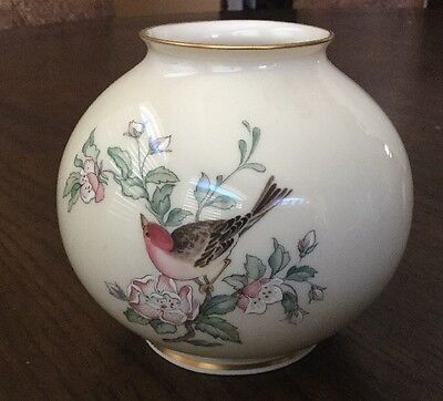 Lenox China...Small *SERENADE GLOBE FLORAL VASE* Hand Decorated 24k Gold Trim...