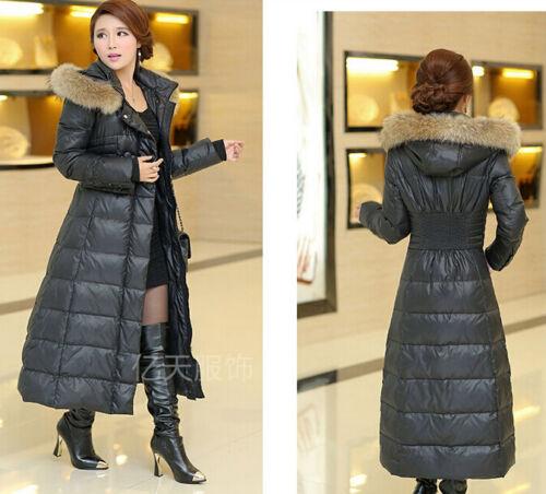 Womens Winter Full length New Plus Size Fur Collar Hooded Long