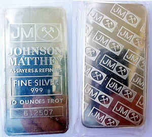 ONE-JM-JOHNSON-MATTHEY-10-TROY-OZ-OUNCES-999-PLUS-FINE-SILVER-RARE-BAR-INGOT