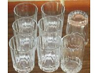 """Set of 8 Glasses, (Juice) - 4"""" high x 3"""" dia. slightly patterned, brand new, never used."""