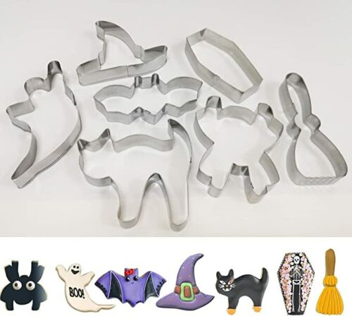 7PCS Halloween Cookie Cutters Set Metal Stainless Steel Biscuit Kitchen Tools