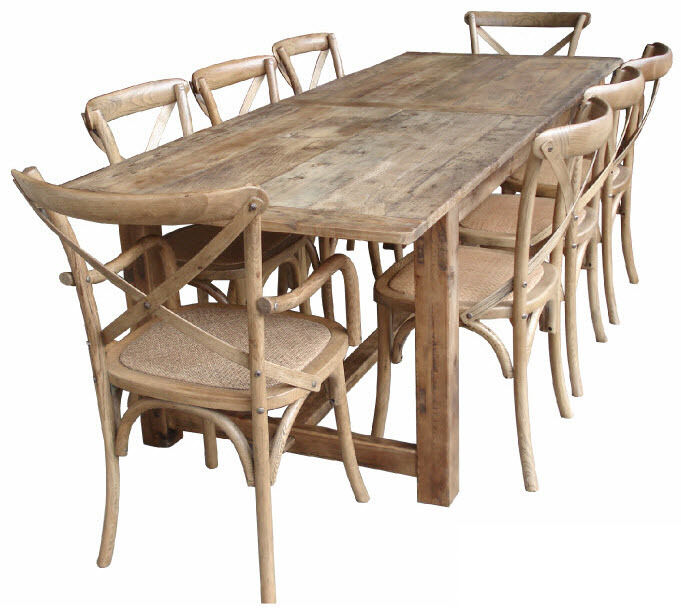 Combining farmhouse urban french and hampton samelia 39 s mum for Oak farmhouse kitchen table and chairs