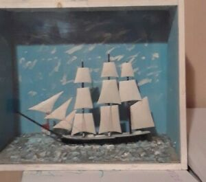 "Folk Art - Hand carved ""Wooden Windjammer Boat""  Open to offers"