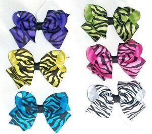 Medium-Basic-Zebra-Print-Bows-Black-Purple-Yellow-Blue-Green-Pink