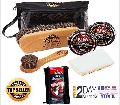 Shoe Care Kit Black Leather Shoes Shine Polishing Set KIWI with Travel Bag Case