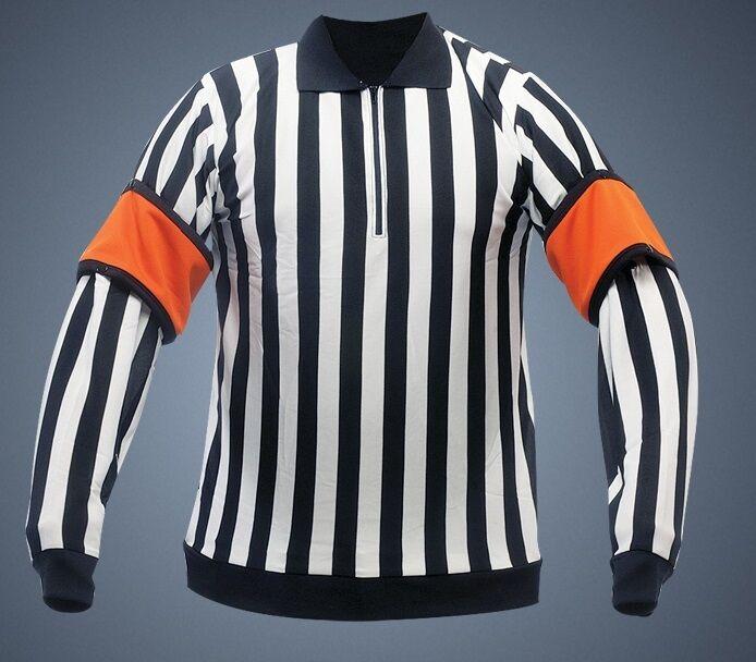 Powertek V3.0 hockey referee jersey linesman snap on arm bands jr medium orange