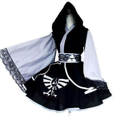 Hot Anime The Legend of Zelda Link Black Kimono Lolita Dress Cosplay Costume