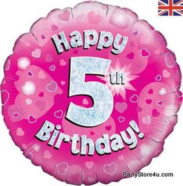 "18"" FOIL BALLOON ""HAPPY 5TH BIRTHDAY"" PINK CELEBRATION"
