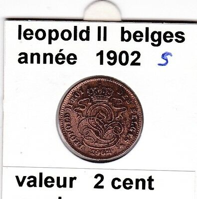 FB )pieces de 2 cent  leopold II 1902 s belges