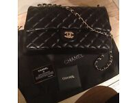 Chanel 2.55 classic flap bag 30cm black sil not Hermes Gucci Prada Lv