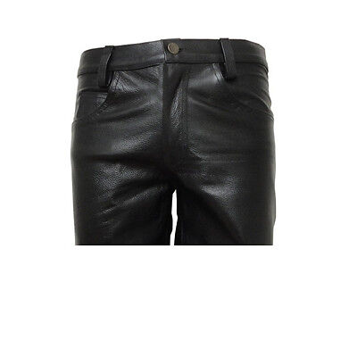 Men's Black Leather Shorts Jeans Style 5 Pockets Shorts Brand New Size 28 To 44