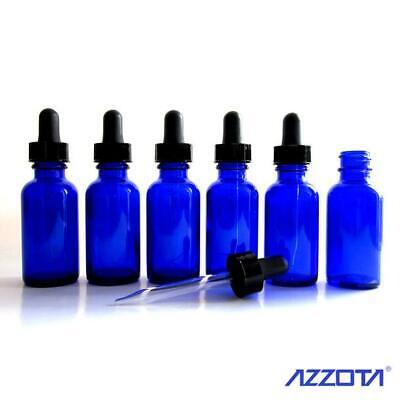 Azzota Blue Glass Bottles W Glass Eye Dropper 1 Oz 30ml 6pk