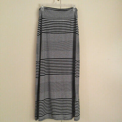 Faded Glory Womens Long Maxi Skirt Black and White Striped Size Small
