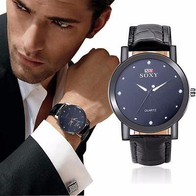 $1.87 - Luxury Men's Military Sport Watch Stainless Steel Dial Leather Band  Watch A+