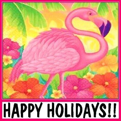 30 Custom Happy Holidays Flamingo Personalized Address Labels