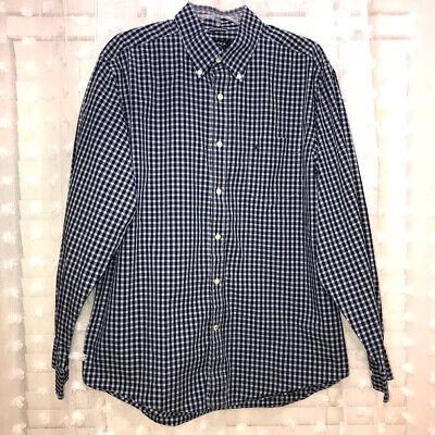 Nautica Men's Long Sleeve Button Blue/White Plaid Shirt Size L Wrinkle Resistant