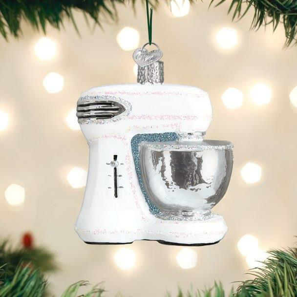 WHITE MIXER KITCHEN APPLIANCE OLD WORLD CHRISTMAS GLASS ORNAMENT NWT 32368
