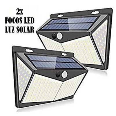 AB1 2X LAMPARA FOCO 208 LED SOLAR EXTERIOR LUZ SENSOR MOVIMIENTO aplique