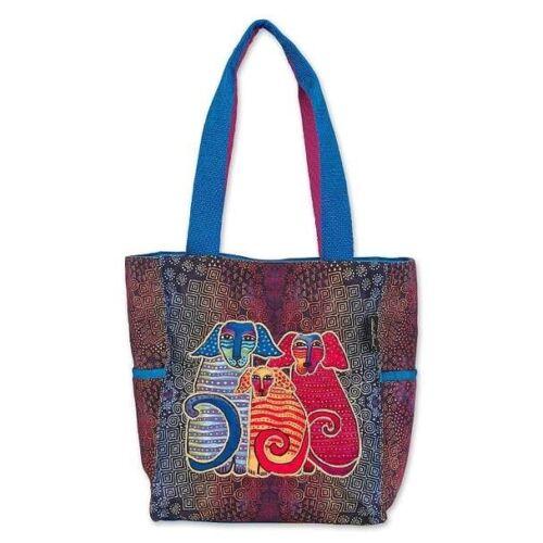 New Laurel Burch Purse Bag Tote DOG FAMILY Blue gift Medium Batik Style Colorful