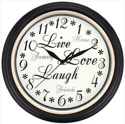 Westclox 12 Live Love Laugh Black Wall Clock Battery Quartz Ship from US Seller
