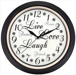 Westclox 12 Live Love Laugh Black Wall Clock Quartz Analog