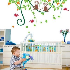 Cheeky-Monkey-Jungle-Tree-Wall-Stickers-Baby-Bedroom-Nursery-Decor-Transparent