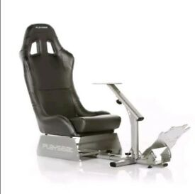 Gaming chair with steering wheel pedal and gear selector