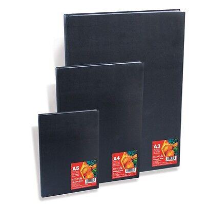 A5 REEVES 80 PAGE 96gsm BLACK HARDBACK SKETCH DRAWING BOOK ARTIST JOURNAL PAD
