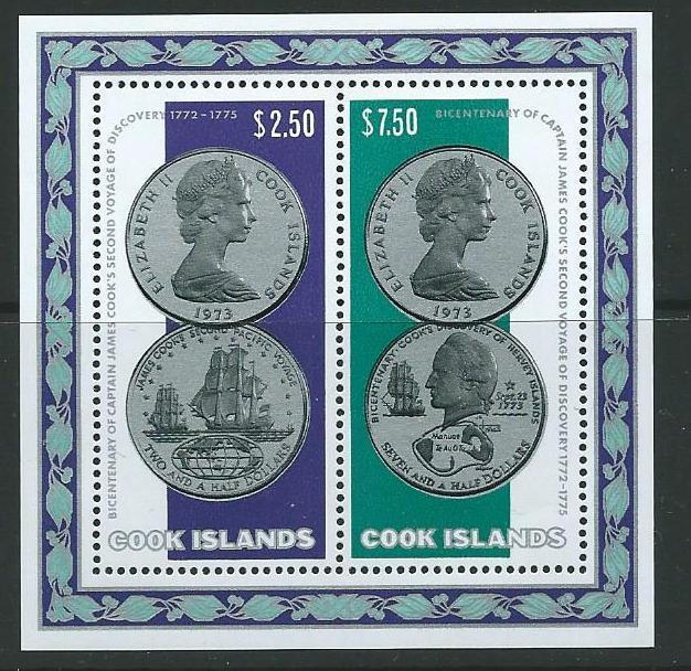 COOK ISLANDS SGMS494 1974 CAPTAIN COOK''S SECOND VOYAGE MNH