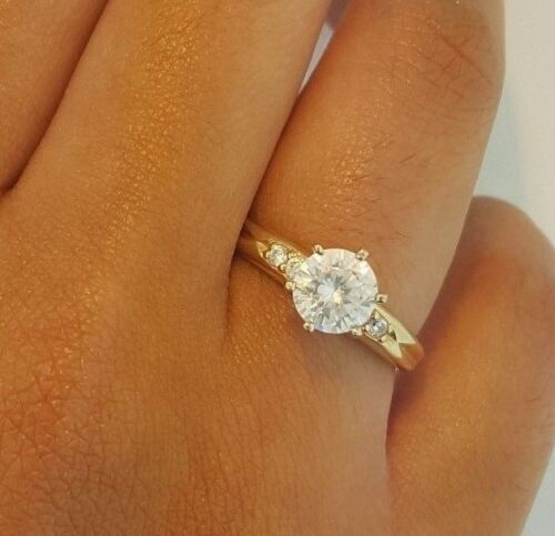 14k Solid Yellow Gold 2 Ct Diamond Engagement Ring Round Cut