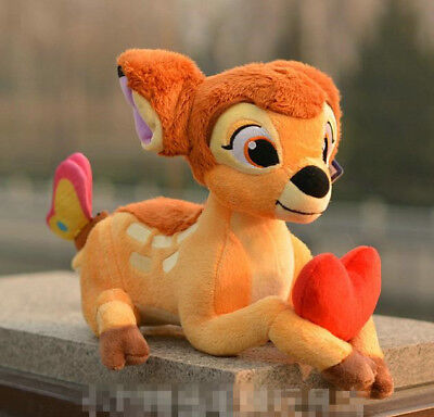 New Bambi deer with red heart Soft Plush Stuffed Toy Gift 30cm