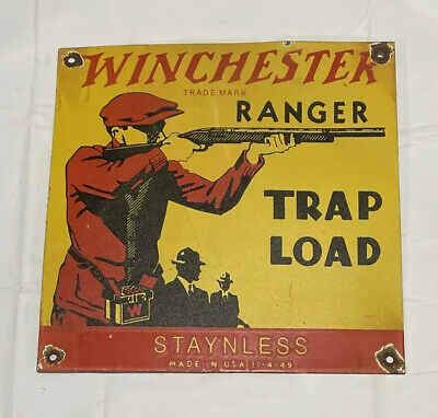 VINTAGE WINCHESTER STAYLESS PORCELAIN SIGN CAR GAS TRUCK GASOLINE RIFLE HUNTING