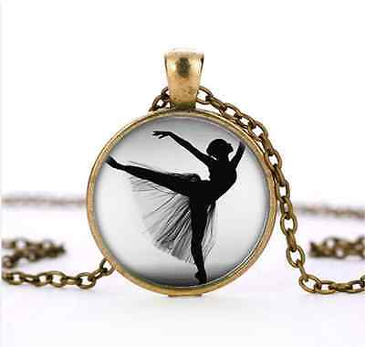 Vintage Ballet  Dance Cabochon Glass Bronze Necklace for woman Jewelry