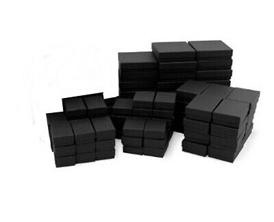 4 Sizes 40 Assorted Mix Black Matte Cotton Fill Jewelry Packaging Gift Boxes