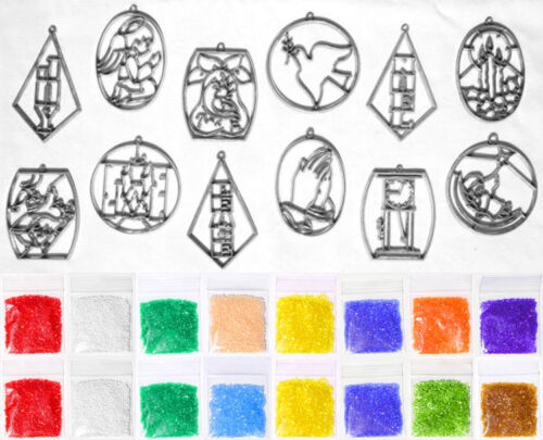 Makit & And Bakit Stained Glass 12 Piece Christmas Ornament Kit 2 – Mini Frames