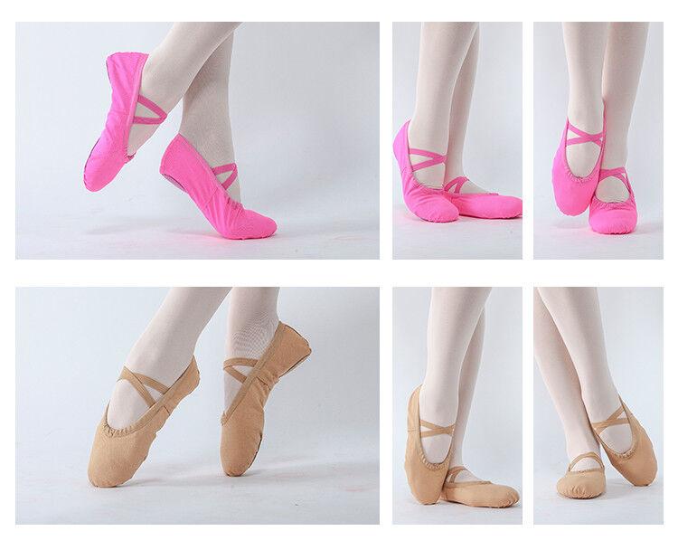 New Girls Kids Soft Split-Sole Canvas Ballet Dance SZ 8-14
