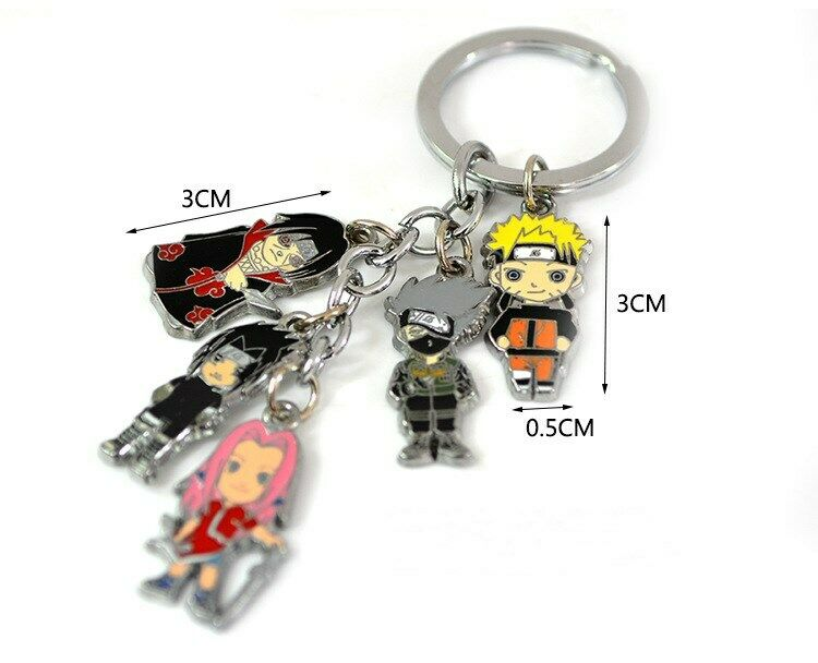 Anime Naruto Sakura Kakashi Itachi Metal Keychain Bag Car Key Ring