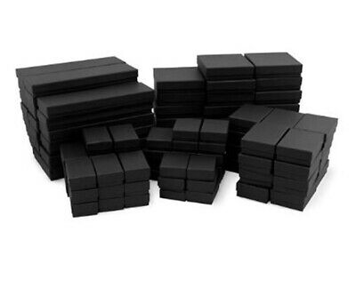 50 Assorted Mix Sizes Black Matte Cotton Fill Jewelry Packaging Gift Boxes