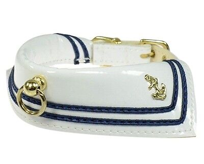 Sailor Dog Pet Collar White Patent Leather 5 sizes  Adorable! Handcrafted in USA Handcrafted Leather Dog Collar