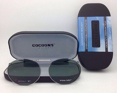 COCOONS Grey Polarized Sunglasses/Eyeglasses Over Rx Clip-on OVL 1-51 Gunmetal